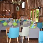 interior of barn lounge area