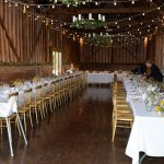 interior of barn set for an event