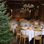 interior of barn set for a gala event