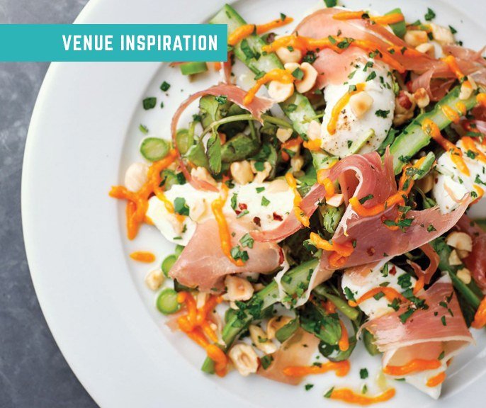 Best places for lunch... salad plate with Parma ham, egg and asparagus