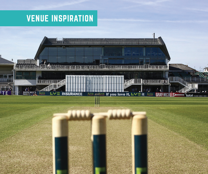 Venue Inspiration: Bristol Pavilion with wickets in the foreground