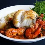 Severnshed: Plate of fish with prawns close up
