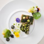 L'Ortolan: white plate with Michelin-star cuisine